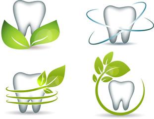 Healthy teeth with green leafs