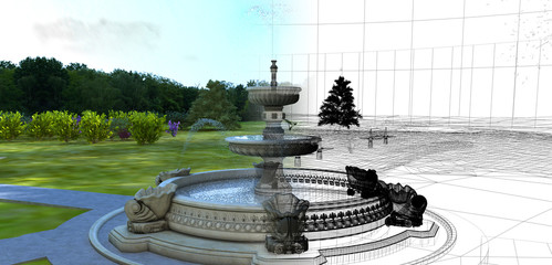 Fontana, giardino,rendering 3d