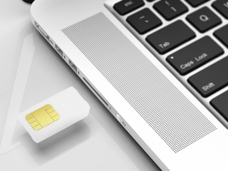 SIM card and laptop