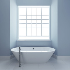 bathroom with tub and windows