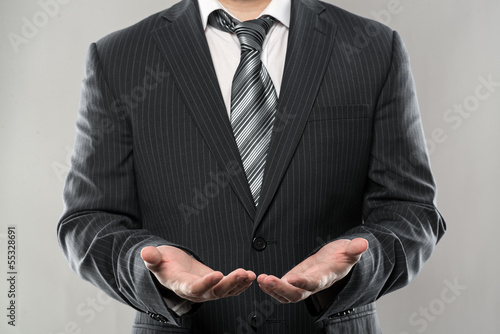 Close-up of businessman open hands giving something.