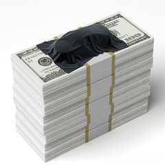 Car under the tissue on the stack of dollars