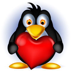 cute penguin cartoon holding love heart