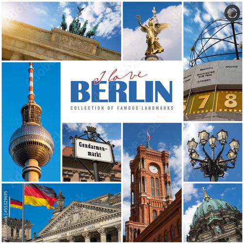 Leinwanddruck Bild Berlin -  Collage der bekanntesten Sehenswürdigkeiten