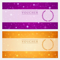 Gift certificate / Voucher / Coupon template. Stars pattern