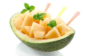 Fresh melon on white background