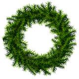 Christmas wreath of pine branches without decoration