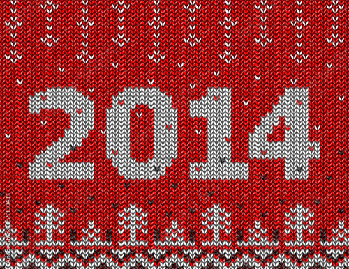Card of New Year 2014 with knitted texture. Vector illustration