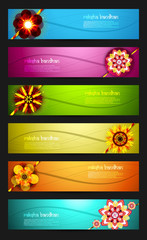 Raksha Bandhan celebration bright colorful six headers vector de