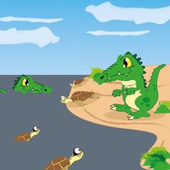 Vector Cartoon Cute Funny Crocodiles And Turtles
