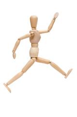 Figur aus Holz im Sprung