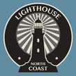 Sticker or label with Lighthouse silhouette, vector