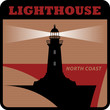 Label with lighthouse silhouette on abstract background, vector