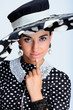 attractive, beauty, chic, dots, fashion, girl, glamour, hat,