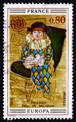 Postage stamp France 1975 Paul as Harlequin, Pablo Picasso