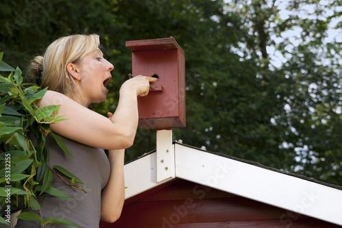 Frau im Garten kontrolliert Vogelhaus
