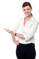 Business lady presenting something