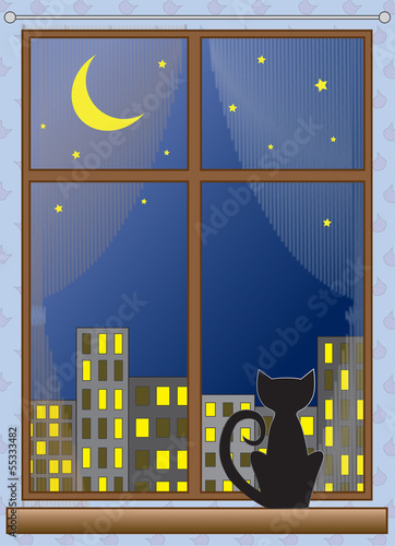 Cat on window moon stars