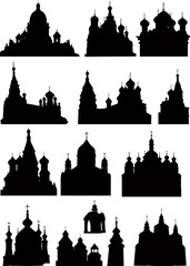 large set of church and  cathedral silhouettes