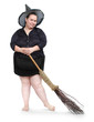 Funny obese witch with her magic broomstick. Haloween concept.