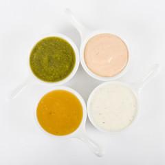 Dips - Rose sauce, mint raita, coriander sauce and mango chutney