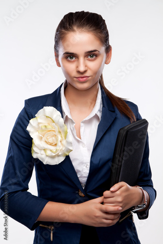 Portrait of a business woman with a stern look