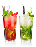 Fototapeta Two mojito cocktails with strawberry and lime fruits isolated