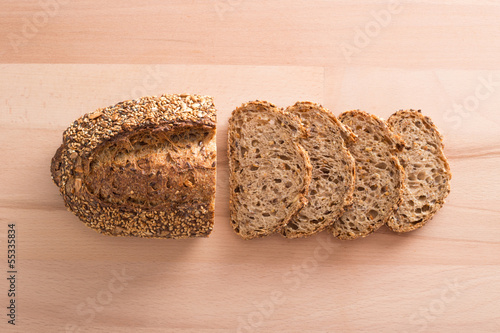 Slices of cereal bread