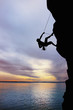 Rock climber at sunset