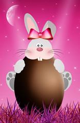 chocolate egg with rabbit