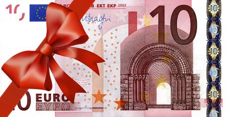 10 Euroschen mit breiten Band an Ecke
