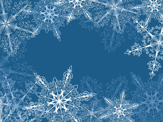 Background with fragile snowflakes