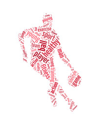 Words illustration of a man playing basketball