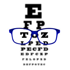 Eye vision test chart seen through blue eye glasses, isolated.