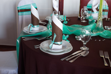 wedding table set  - brown and mint