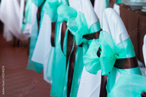 wedding chairs with silk ribbon mint and brown