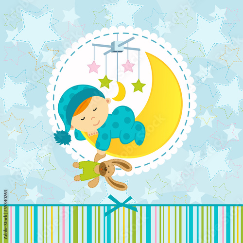 baby boy sleeping - vector illustration