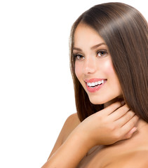 Beautiful Teenage Model Girl Touching her Fresh and Clean Skin
