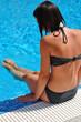 woman near the pool
