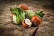 Organic hazelnut on wooden table