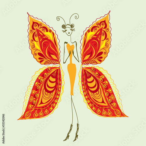 Butterfly - the woman of fashion.