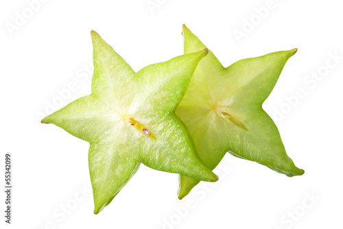 Carambola slice. With clipping path