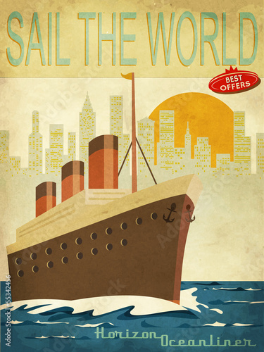 Sail the World Vintage Poster