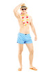 Full length portrait of a handsome guy in swimming shorts