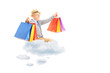 Happy senior man flying on clouds and holding shopping bags