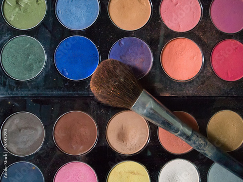 Top View of dirty makeup brush