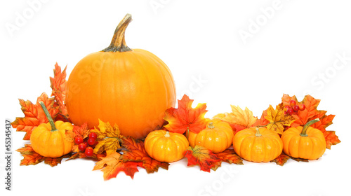 Autumn arrangement of pumpkins with red leaves