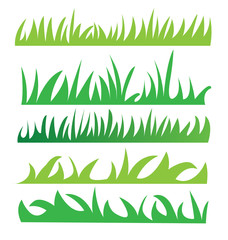 Set of green grass illustration vector