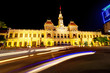 Night scene at the City Hall of Ho Chi Minh City in Vietnam.