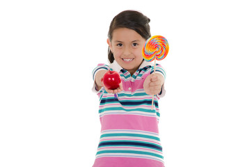 Little girl and big lollipop with apple